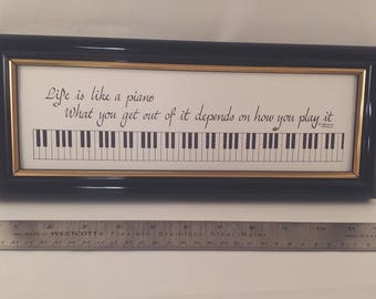 Life is Like a Piano  framed calligraphy by Anita Robertson