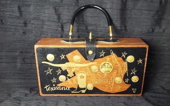 Enid Collins 1964 Texicana Wooden Box Bag