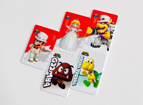 Free Shipping 5 Complete Set Super Mario Odyssey Amiibo Cards Mario Bowser Peach Wedding Outfits Dress Veil Tux Hats Nfc Amiibo Cards