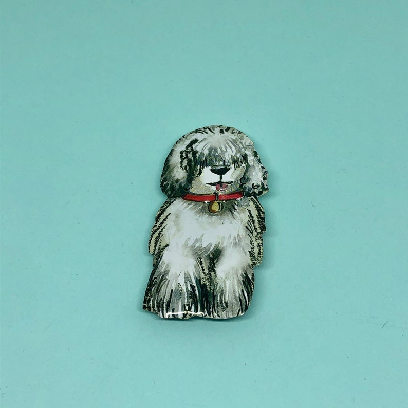 tin anniversary Old English Sheepdog Brooch tin brooch Dog brooch