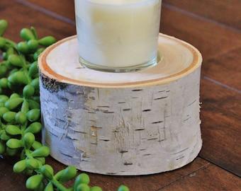 "White Birch Wood Rivet | Handcrafted Natural Birch Candle Holder | 3.5""-5"" Birch Votive or Tea Light Candle Holder |White Birch Wood Slab"