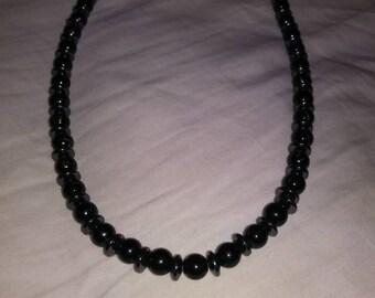 Black marbled bead & hermetite Necklace