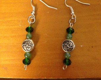 Green and Silver Fashion Earrings