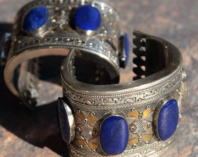 BRACELET Pair (2pcs) Turkoman Tribal Real LAPIS Gold Plated BellyDance 502a22
