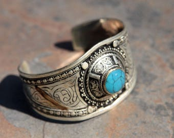 BRACELET (1pc) Turkoman Tribal Real TURQUOISE Gold Plated BellyDance 501c5