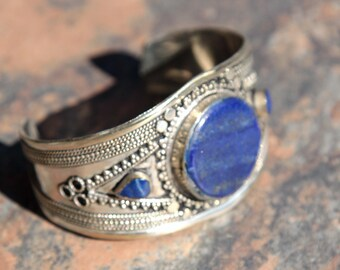 BRACELET (1pc) Turkoman Tribal Real LAPIS Gold Plated BellyDance 502a6