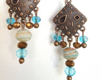 Antique Copper and Turquoise Chandelier Style Earrings
