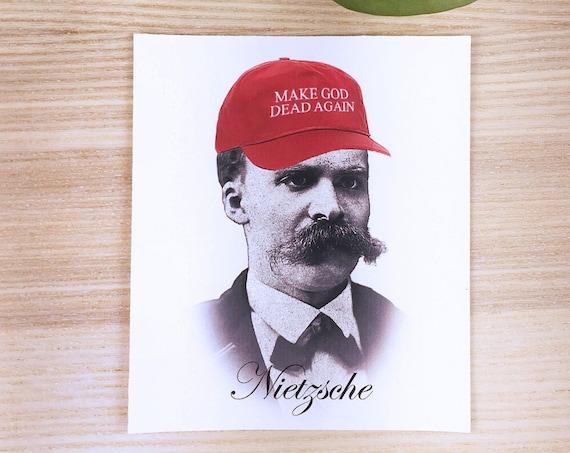 """Nietzsche Make god dead again vinyl sticker (approx. 3,5""""x4"""")"""