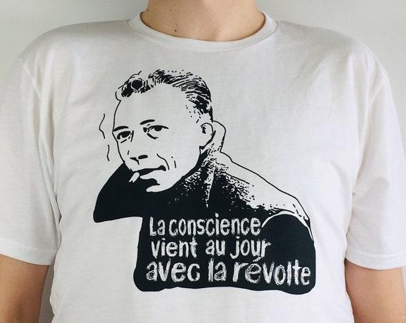 Albert Camus T-shirt printed on organic cotton