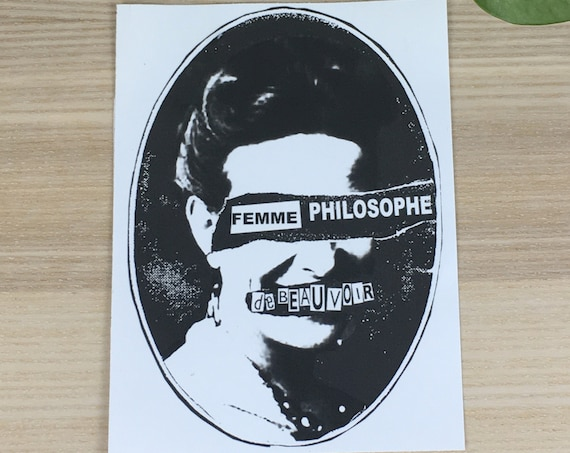 """Simone de Beauvoir vinyl sticker (approx. 4""""x5"""")"""