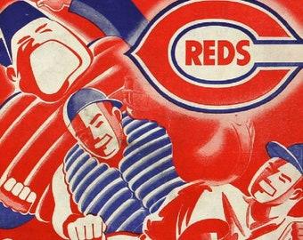 1948 CINCINNATI REDS print - Vintage Baseball Poster