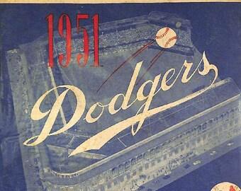 1951 BROOKLYN DODGERS print - Vintage Baseball Poster
