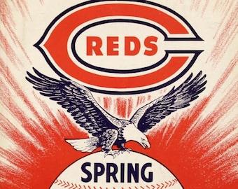 1945 CINCINNATI REDS print - Vintage Baseball Poster