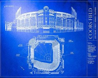 Baseball blueprint etsy coors field blueprint colorado rockies vintage baseball poster malvernweather Gallery