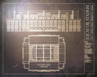 LUCAS OIL STADIUM blueprint - Indianapolis Colts - Vintage Football Poster
