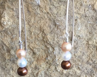 Chocolate and Gold Freshwater Pearls with Sterling Silver