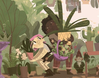 Plant Shopping, Digital Painting Giclee Printed on Matte Paper