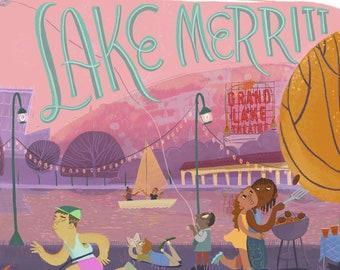 Lake Merritt, Digital Painting Giclee Printed on Matte Paper