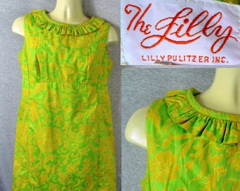 8637ce4e38621c Rare Vintage The Lilly - LILLY PULITZER Shift Dress Acid Green Floral Size  SMALL