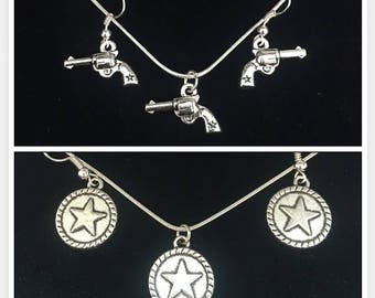 Pistol and Stars Earrings and Necklace Sets