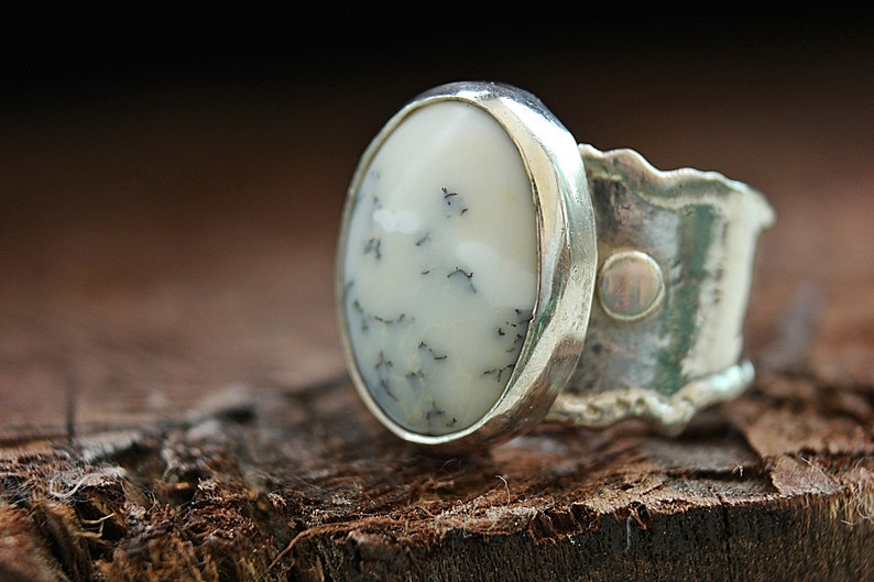 Moss Agate RingAgate ringMoss agate jewelryGemstone ringHandmade ringStatement ringBoho ringBohemian ringBoho styleGiftWhite ring