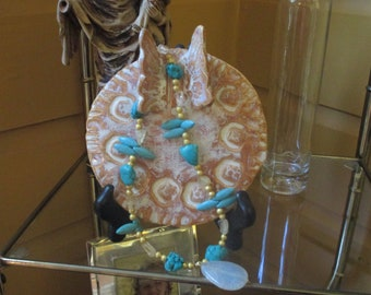 turquoise, citrine, necklace, gold