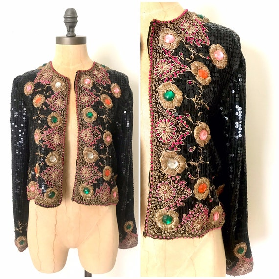 Vintage beaded jacket - sequin beaded jacket - vin