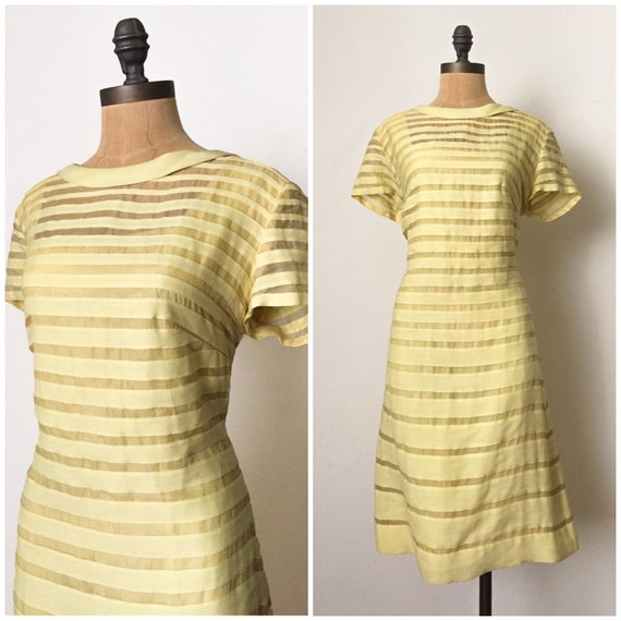 50s cocktail dress - 50s striped yellow dress - 50