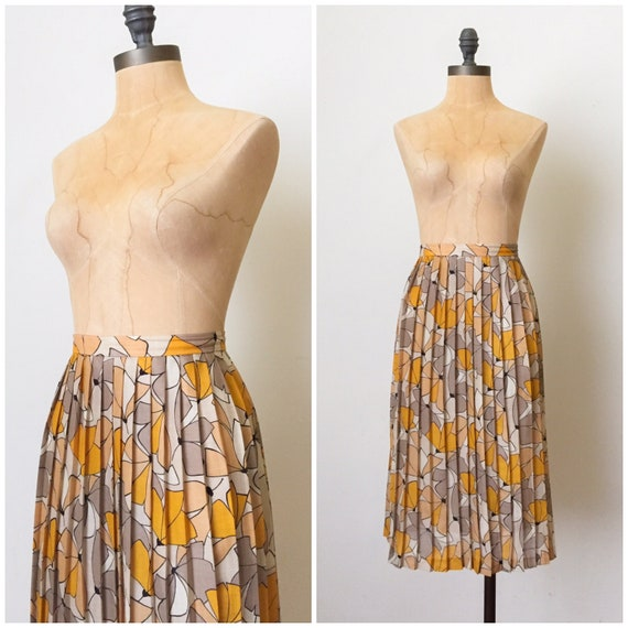 vintage pleated skirt - pleated midi skirt - pleat