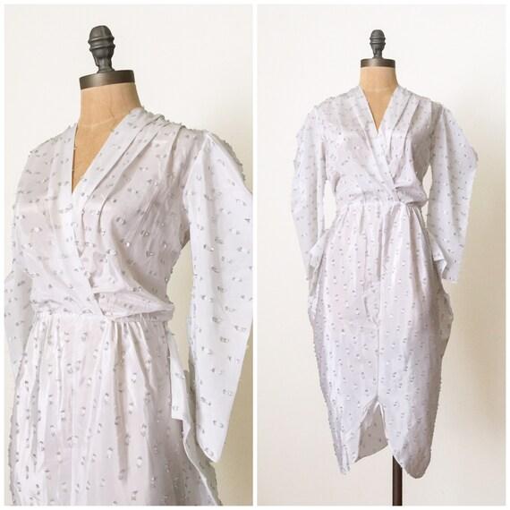 vintage white dress - vintage lame dress - vintage