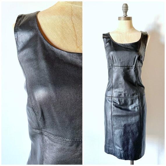 Vintage black leather dress - leather dress - vint