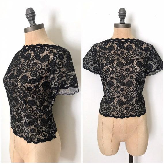 vintage lace blouse - vintage 50s lace blouse - vi