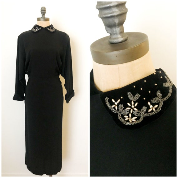 vintage 40s dress - 40s rayon dress - vintage 194… - image 1