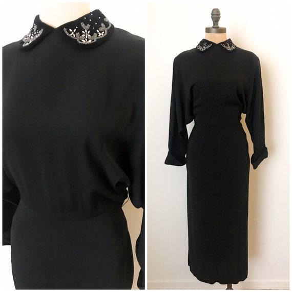 vintage 40s dress - 40s rayon dress - vintage 1940