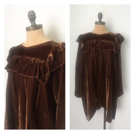 Vintage tunic - 1970s vintage velvet tunic - 70s v