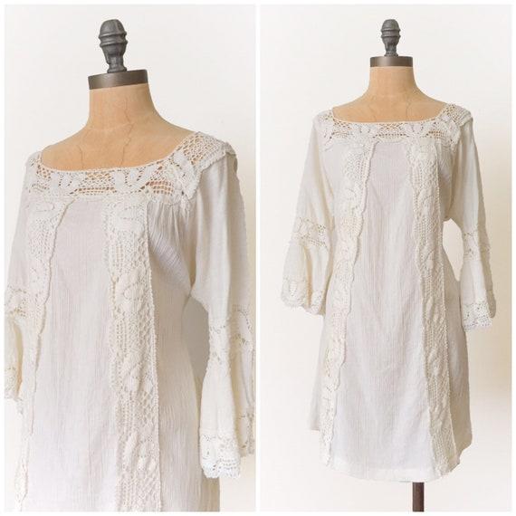 vintage mexican dress - Vintage gauze dress - vint