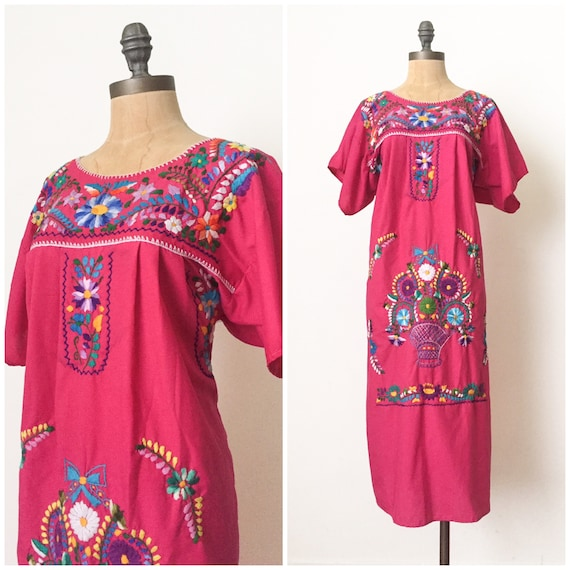 Vintage Mexican Embroidered dress - Hand embroider