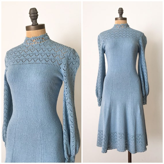 Vintage crochet knit dress, 1970s knit dress, 70s