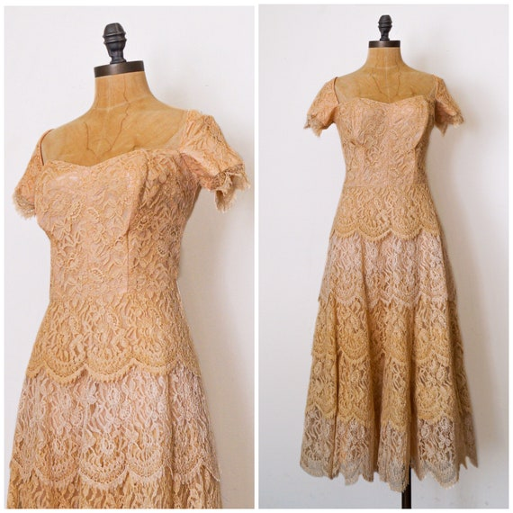Vintage lace dress - 1950s Layered Lace Dress - 50