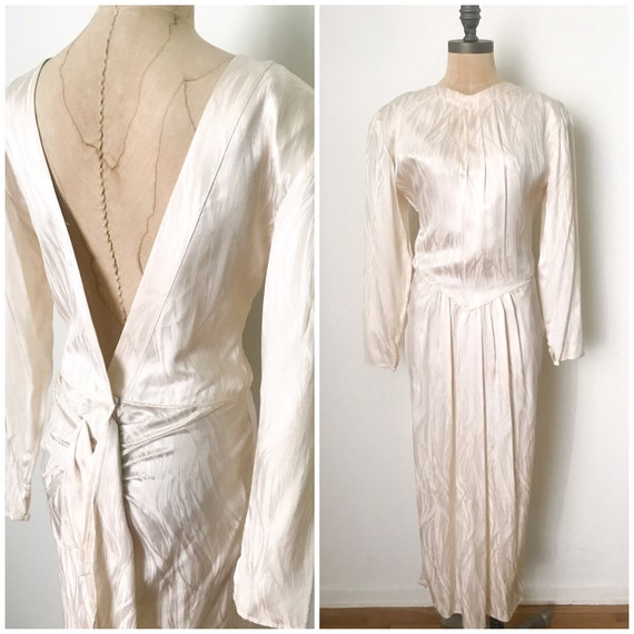 vintage silk dress - vintage 80s dress - vintage l