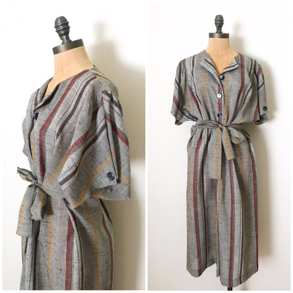 Vintage striped dress - vintage shirt dress - vint