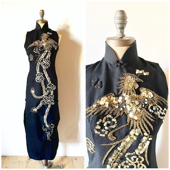 Vintage beaded dress - vintage Chinese dress - vin