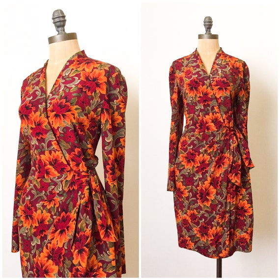 vintage wrap dress - vintage silk wrap dress - vin