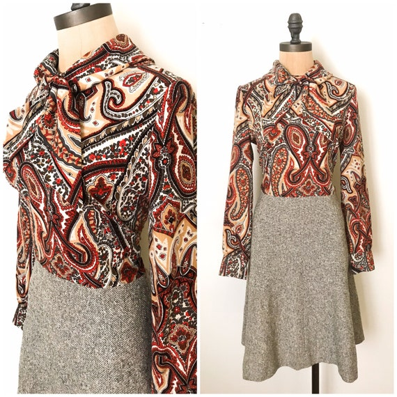 Vintage shirt dress - vintage paisley dress - vint
