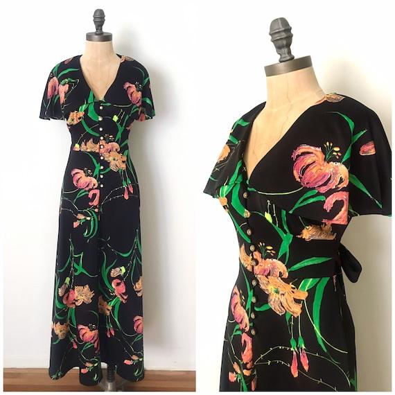 70s maxi dress - vintage floral maxi dress - 70s f
