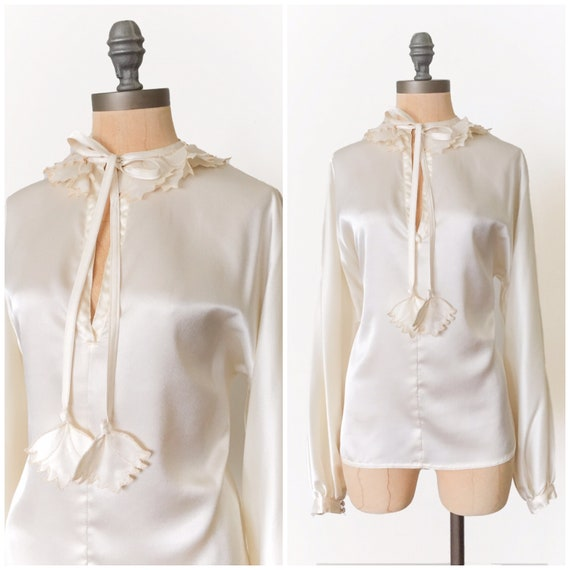 vintage poet sleeve blouse - vintage cream blouse