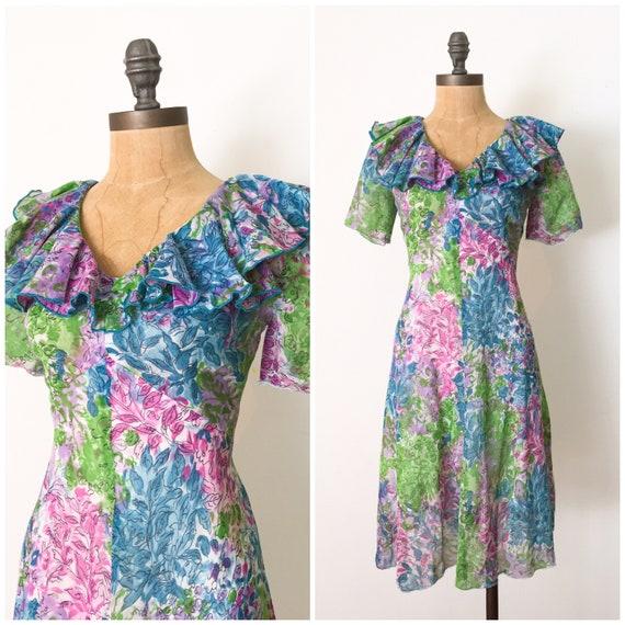 Vintage floral dress - 1950s day dress - 50s summe