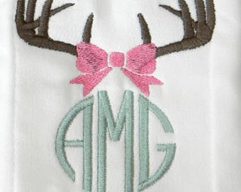 Baby Bib with Girl Antlers