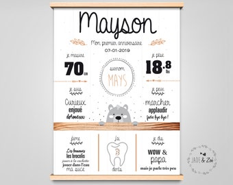 1-year poster - DIGITAL FILE - First birthday, Personalized, 1 year old baby party, white background, black, grey, bear poster