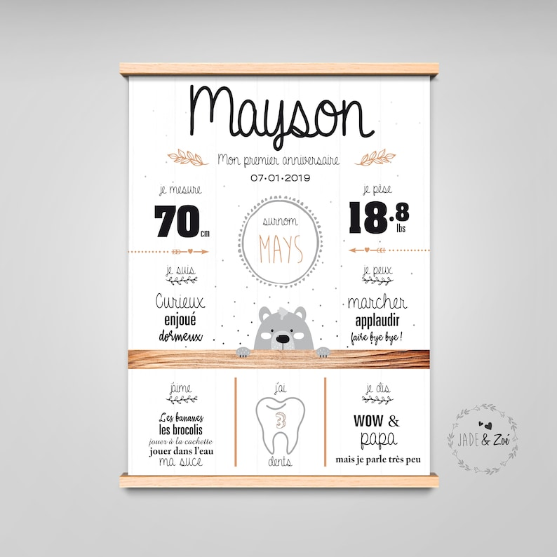 1-year poster  DIGITAL FILE  First birthday Personalized 1 image 0